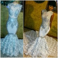 Luxury White Beaded Crystal Appliqued Long Prom Dresses 2017...