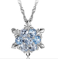 Blue Crystal Snowflake Pendant Necklace Silver Pendant Neckl...