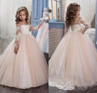 2017 Romantic Champagne Puffy Flower Girl Dress for Weddings...