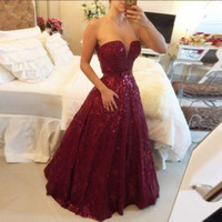 Deep V Neck Sparkly Long Prom Dresses 2017 Red Sheer Sexy Ba...
