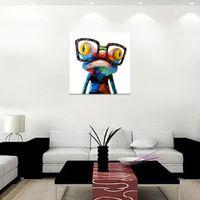 Обрамленная счастливая лягушка с стеклами, Handpainted самомоднейшая абстрактная картина маслом искусства животных, домашний декор на высоком качестве Canvas размер можно подгонять