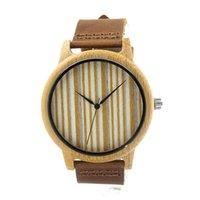 Montre-bracelet de luxe en bois brun hommes Montres en quartz Casual en bois de couleur bracelet en cuir Montre en bois pour hommes Montre-bracelet