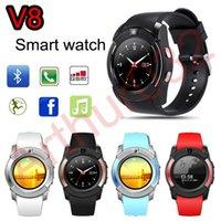 Smart Watch V8 MTK6261D téléphone Bluetooth Smartwatch GSM supporte SIM avec 0.3M caméra Sports pour Android iOS montre-bracelet avec le paquet de détail