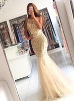 Champagne 2017 Sexy Mermaid Prom Dresses Sheer Neck Cristais frisados ​​Illusion Back Sweep Train Vestidos formidáveis ​​de festa à noite Custom Made