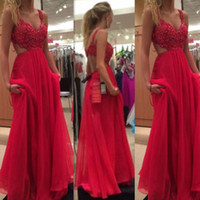 2017 Fuchsia Red Prom Dresses Spaghetti Straps Backless Chif...