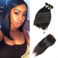 Brazilian Straight Human Hair 4 Bundles With Lace Closure Co...
