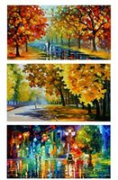 Цвет окраски Деревья уличный фонарь Lovers дождь, Pure расписанную ART картина маслом на холсте высокого качества, свободная перевозка груза, подгонять размер DHzh