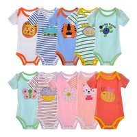 5 pieces lot DANROL 3M- 24M Short Sleeve Cotton Rompers Boy N...