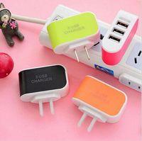 Cargador de pared Adaptador de viaje para Iphone 6S Plus Colorido Home Plug LED USB Cargador Para Samsung S6 3 puertos usb cargador