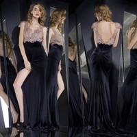 Velvet Side Split 2016 Mermaid Evening Dresses Delicate Lace...