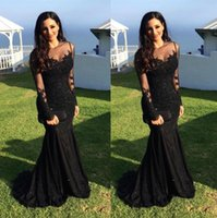 2017 New Design Mermaid Lace Mãe da Noiva Groom Dresses Illusion Manga comprida Mãe Formal Party Evening Veste Plus Size Prom Gowns
