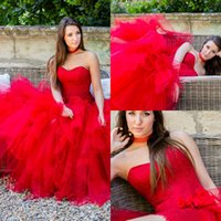 Sexy Red Sweetheart Evening Dresses Назад Застежка-молния Tiered Ruffle Prom Gowns с аппликацией Back Zipper Custom Made Vestidos De Noiva 2017