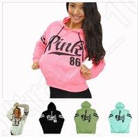 Женщины розовое письмо Hoodie VS розовый пуловер топы VS бренда рубашку пальто толстовку с длинным рукавом толстовки случайный свитер моды с капюшоном пальто OOA1052