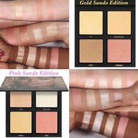 Beauty 3D Highlighter Glow Kit 4 sombras highlighters 2 colores Gloden Sands y Pink Sands Edition maquillaje para la cara Bronzers Towoto