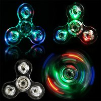 2017 Acrylique LED Luminous Glitter Jelly Clear Fidget Spinner Cristal Spinner à la main Allumer Tri Fidget spinners OTH440