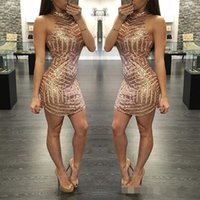 Gold Sequins Cocktail Party Dresses Fitted Halter Mini Short...
