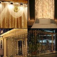 3M х 3M 300 LED Lights Свадьба Рождество Строка День рождения Открытый Главная Теплый белый Декоративные Фея занавес Гирлянды