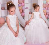 2017 Vintage Lace Flower Girl Dresses Ball Gown Baby Girl Bi...