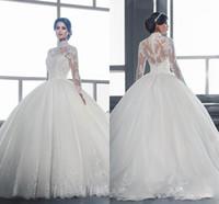 Vintage бальное платье Кружева Свадебное платье 2017 Длинные рукава высокого шеи Аппликация Поезд стреловидности арабский Дубай Свадебные платья Vestidos De Novia 2016