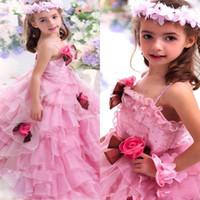 Необычные платья девушки цветка Розовый Спагетти Бисероплетение Pageant платья Многоуровневое Ruched выполненная на заказ Поезд стреловидности назад Zipper Прекрасный день рождения платье партии