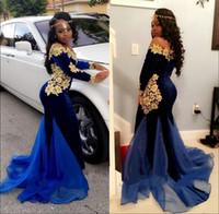 Новый Элегантный Длинные рукава платья выпускного вечера вечера Носите 2K17 Royal Blue Velvet Золото Кружева Длина пола Русалка вечерние платья