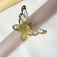 Bling butterfly napkin rings shining wedding table decoratio...
