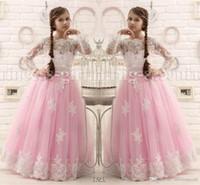 Hot Pink Floor Length Flower Girl Dresses Long Sleeves 2016 ...