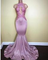 Новейшие Русалка с высоким вырезом Пром платье 2017 Sweep-Train Светло-розовый кружево аппликациями рукавов Длинные театрализованные вечерние платья