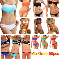 Hot Femmes Fringe Bikini Maillots de bain Ombre Fringe Strap Halter rembourré Girl Lady Natation Maillot de bain maillot Top Bottom 50pcs