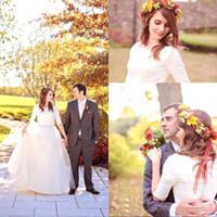 Страна Стиль Свадебные платья A-Line Vintage Jewel Половина рукава Свадебные платья Белый Назад Покрытый Кнопка Простые Многоуровневое Свадебные платья 2017 года