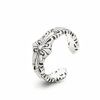 925 Sterling Silver Trendy Ladies unique ajustable ouvrant simple sliver plaqué retro bague en orteil taillée RS03901