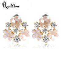 Summer Style Pendientes Fine Jewelry Flower Stud Earrings fo...