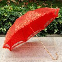Red Bride Umbrella Photo Prop Gold Foil Lace Red Umbrella Br...