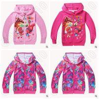 3 diseños Hot Trolls niños cárdigan dibujos animados amapola Primavera otoño cremallera Hoodies Manga larga Chaquetas Niños camisetas ocasionales CCA5431 50pcs