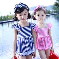 Everweekend Girls Stripes Ruffles Swim Suits Tops Underwear ...