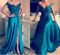 2017 Sexy Vestido De Novia Longo Prom Vestidos Off The Shoulder Dide Split apliques de cetim elástico Beaded Sweep Train Evening Dresses