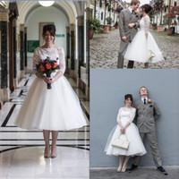 1950-е годы Vintage Короткие чай Длина Свадебные платья 3/4 рукава Jewel шеи Кружева Тюль молния назад Свадебные платья vestidos де Noiva сшитое