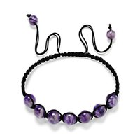 Fashion 6mm 8mm 10mm AA Amethyst Stone Beads woven Bracelet ...