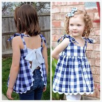 Baby Girls Summer Plaid Backless Bow Clothing Sets Outfits C...