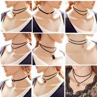 Collier en dentelle de style simple Collier pour femme Collier en porcelaine de style ethnique Muti-layer Pendentif Collier en corde 9 Styles Livraison gratuite
