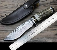High- quality goods straight knife at antlers Damascus fixed ...