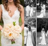 2017 год сбора винограда Лето полный шнурок Свадебные платья Глубокий V шеи Backless рукавов Русалка Часовня TrainWedding Свадебные платья плюс размер