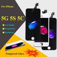 IPhone 5 5C 5S écran LCD LCD 5 PCS / LOT Digitizer à écran tactile AAA de qualité supérieure Assemblage de collocation sans couleur