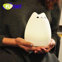Soft Silicone Gradual change Cute Kitty Night Light USB Char...