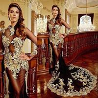Long Luxury Mermaid Evening Dresses 2016 See Through Appliqu...