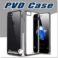 Pour iPhone 7 6S boîtier ultra-mince résistant aux chocs métal électrodéposition technologie Soft Gel TPU Silicone Housse pour S7 S6 Note 7 Transparen
