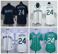 2016 Femmes Ken Griffey Jr Jersey Cool Base Throwback Seattle Mariners Crème Maillots à bascule Maillots de baseball Mix Order