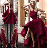 2017 Новый High Low Холтер шеи Backless Вечерние платья Gorgeous Sexy рукавов Vestidos De Fiesta арабский Дубай мантий выпускного вечера