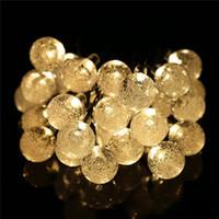 Солнечная лампа 4.8M 20 30 Светодиодные строки Crystal Ball Christmas Wedding Открытый Красочный Теплый белый свет Фея сада 20LEDs 30LEDs Украшение