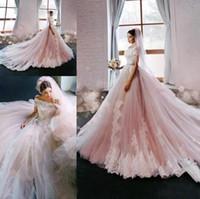 2017 Новый Blush Элегантный принцессы A-Line Свадебные платья Off Плечи рукава Cap Кружева Аппликации Люкс Свадебные платья с поезда суда